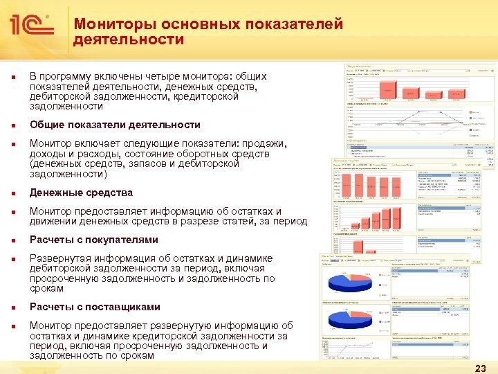 Мониторы основных показателей деятельности n n n n n В программу включены четыре монитора: