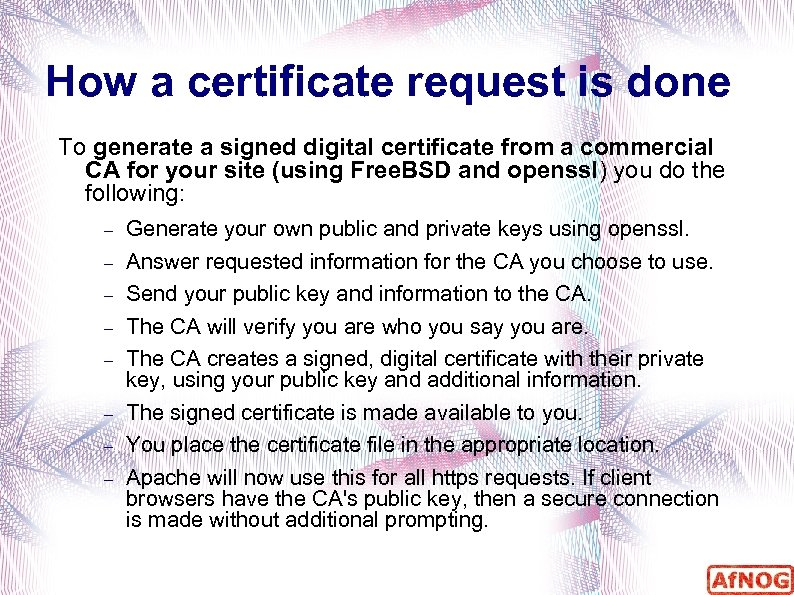 How a certificate request is done To generate a signed digital certificate from a