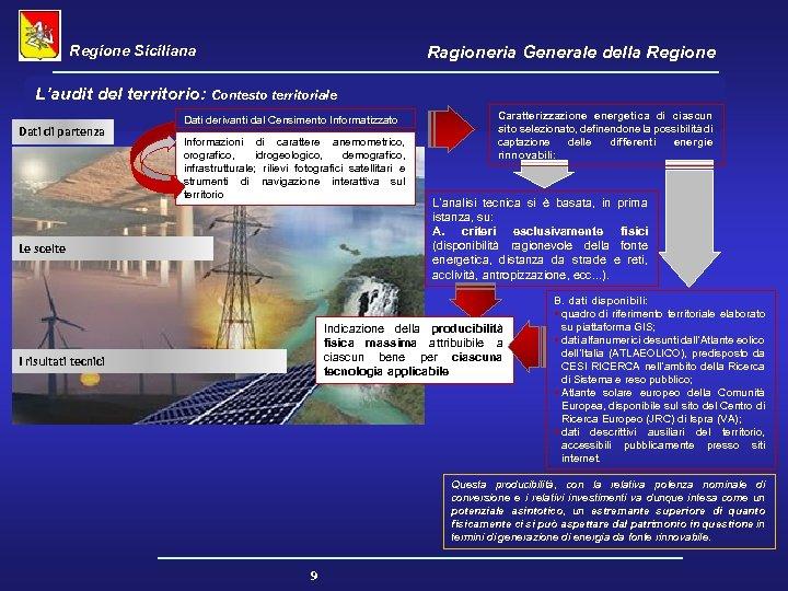Regione Siciliana Ragioneria Generale della Regione L'audit del territorio: Contesto territoriale Dati di partenza