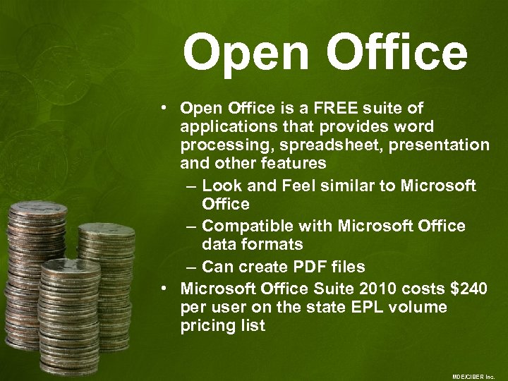 Open Office • Open Office is a FREE suite of applications that provides word