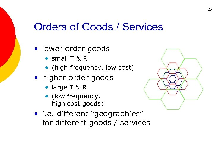 20 Orders of Goods / Services • lower order goods • small T &