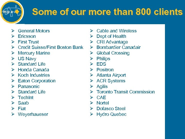 Some of our more than 800 clients Ø Ø Ø Ø General Motors Ericsson