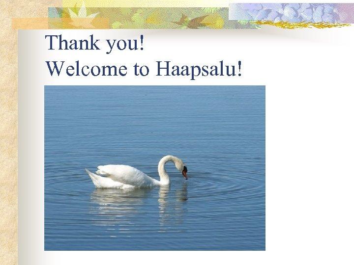 Thank you! Welcome to Haapsalu!