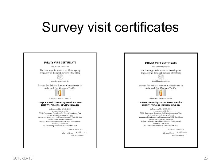 Survey visit certificates 2018 -03 -16 23