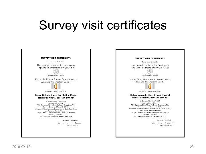 Survey visit certificates 2018 -03 -16 23