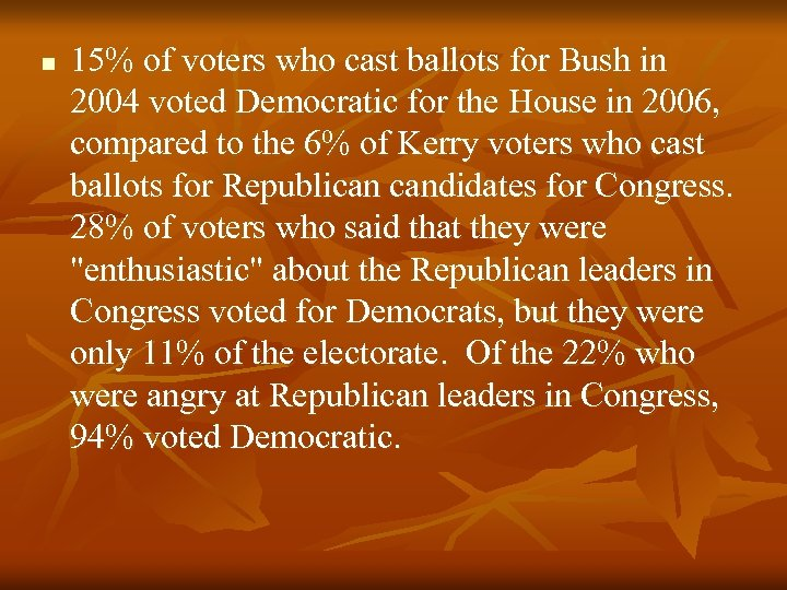 n 15% of voters who cast ballots for Bush in 2004 voted Democratic for