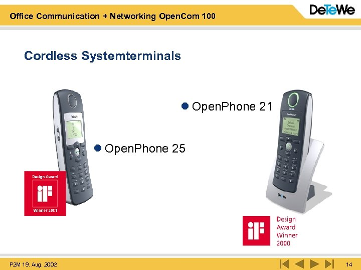 Office Communication + Networking Open. Com 100 Cordless Systemterminals l Open. Phone 21 l