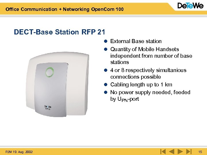 Office Communication + Networking Open. Com 100 DECT-Base Station RFP 21 l External Base