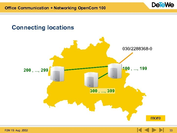 Office Communication + Networking Open. Com 100 Connecting locations 030/2288368 -0 100 , .