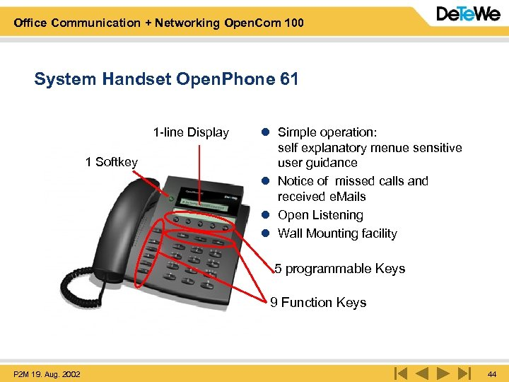 Office Communication + Networking Open. Com 100 System Handset Open. Phone 61 1 -line