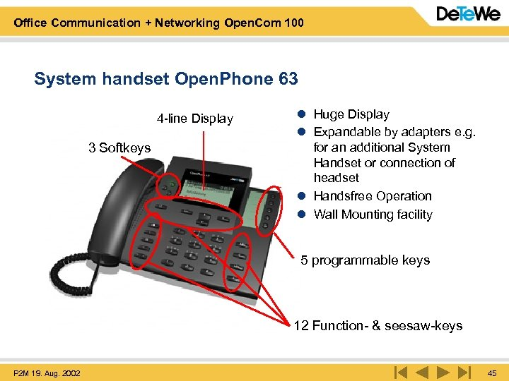 Office Communication + Networking Open. Com 100 System handset Open. Phone 63 4 -line