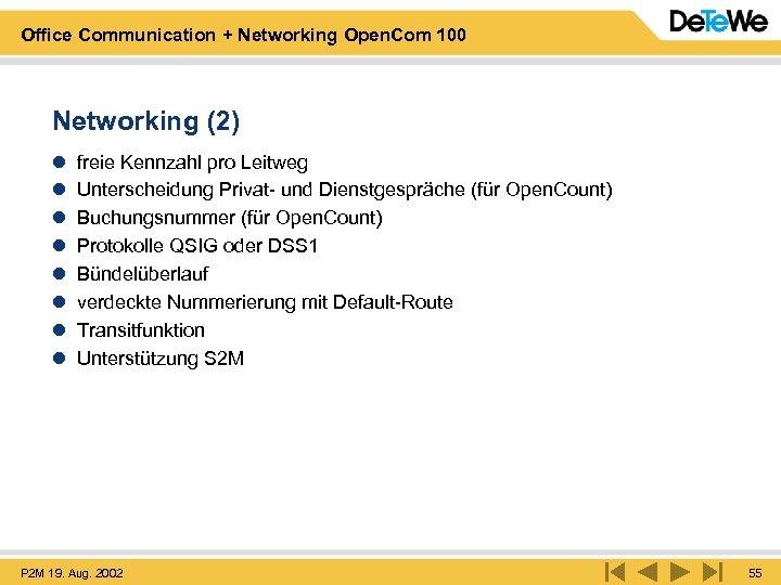 Office Communication + Networking Open. Com 100 Networking (2) l l l l freie
