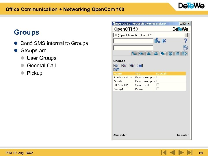 Office Communication + Networking Open. Com 100 Groups l Send SMS internal to Groups