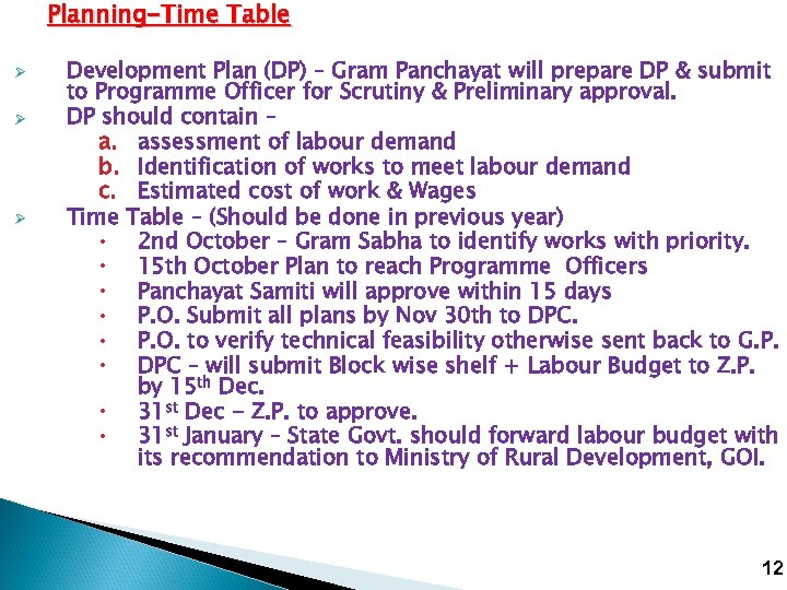 Planning-Time Table Ø Ø Ø Development Plan (DP) – Gram Panchayat will prepare DP