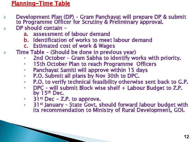 Planning-Time Table Ø Ø Ø Development Plan (DP) – Gram Panchayat will prepare DP