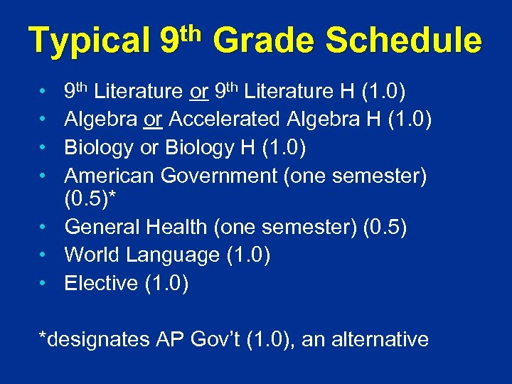 Typical th 9 Grade Schedule 9 th Literature or 9 th Literature H (1.