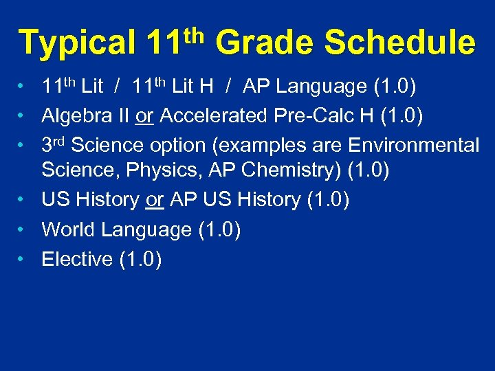Typical th 11 Grade Schedule • 11 th Lit / 11 th Lit H