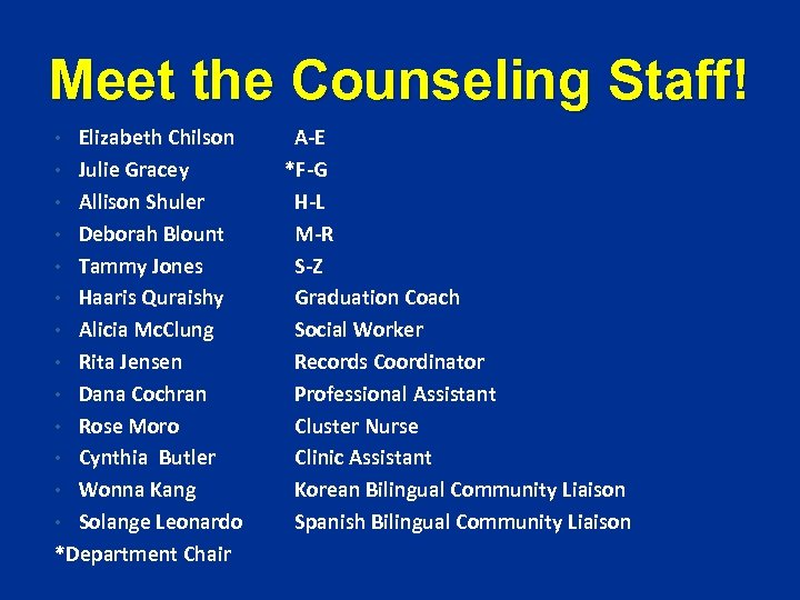 Meet the Counseling Staff! Elizabeth Chilson • Julie Gracey • Allison Shuler • Deborah