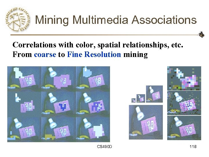 Mining Multimedia Associations Correlations with color, spatial relationships, etc. From coarse to Fine Resolution
