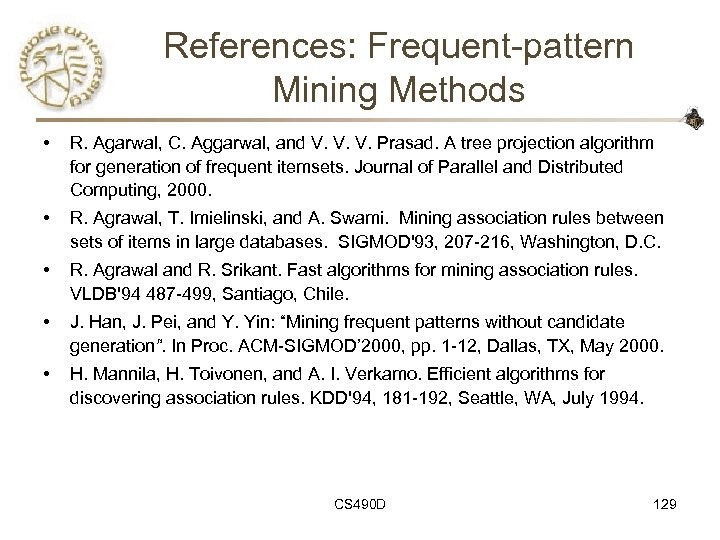 References: Frequent-pattern Mining Methods • R. Agarwal, C. Aggarwal, and V. V. V. Prasad.