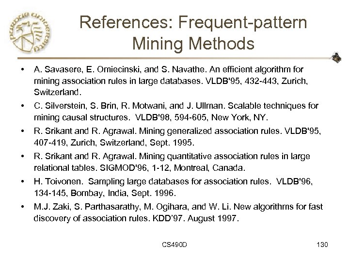 References: Frequent-pattern Mining Methods • A. Savasere, E. Omiecinski, and S. Navathe. An efficient