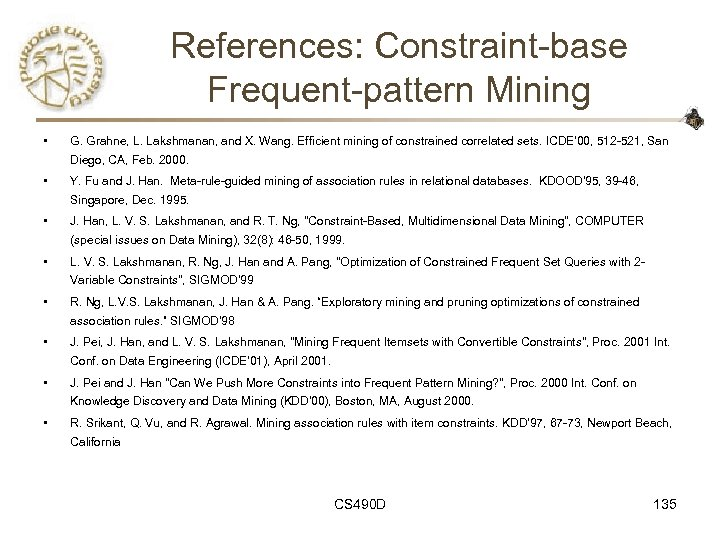 References: Constraint-base Frequent-pattern Mining • G. Grahne, L. Lakshmanan, and X. Wang. Efficient mining