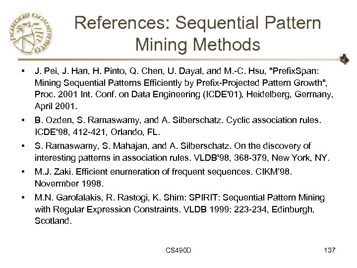 References: Sequential Pattern Mining Methods • J. Pei, J. Han, H. Pinto, Q. Chen,