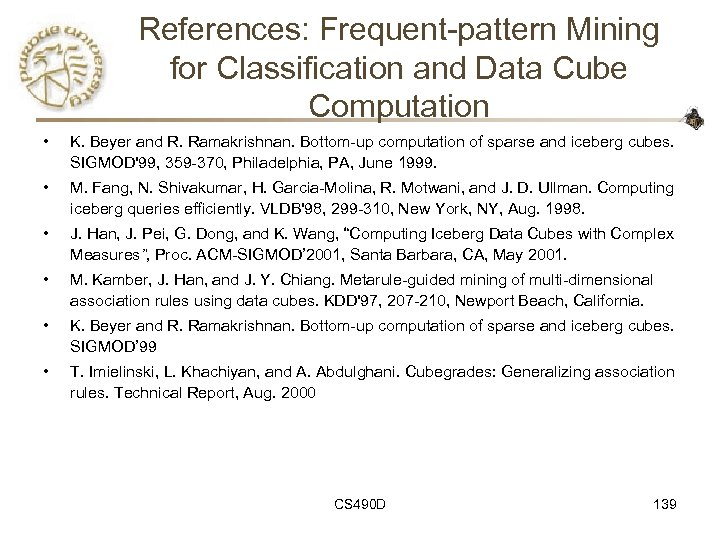References: Frequent-pattern Mining for Classification and Data Cube Computation • K. Beyer and R.