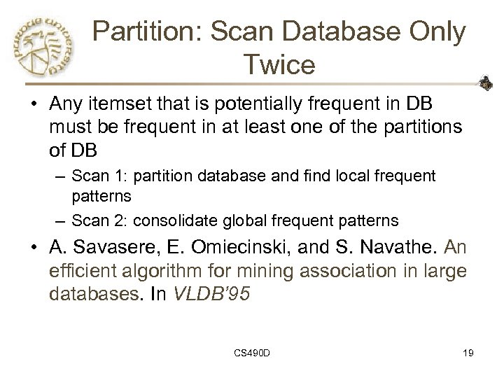 Partition: Scan Database Only Twice • Any itemset that is potentially frequent in DB