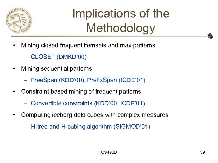Implications of the Methodology • Mining closed frequent itemsets and max-patterns – CLOSET (DMKD'