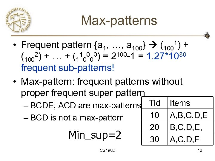Max-patterns • Frequent pattern {a 1, …, a 100} (1001) + (1002) + …