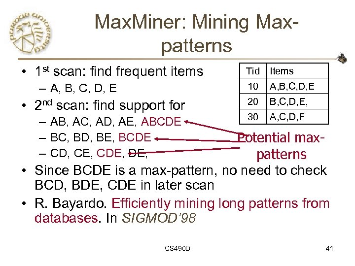 Max. Miner: Mining Maxpatterns • 1 st scan: find frequent items • 2 nd