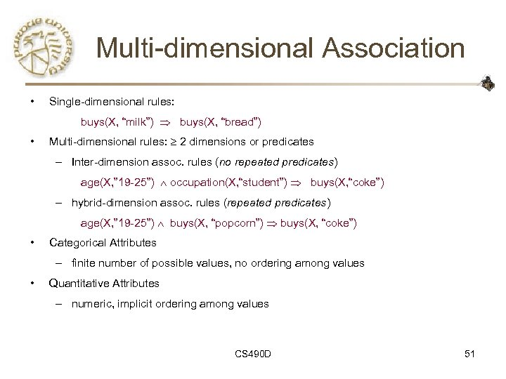"Multi-dimensional Association • Single-dimensional rules: buys(X, ""milk"") buys(X, ""bread"") • Multi-dimensional rules: 2 dimensions"