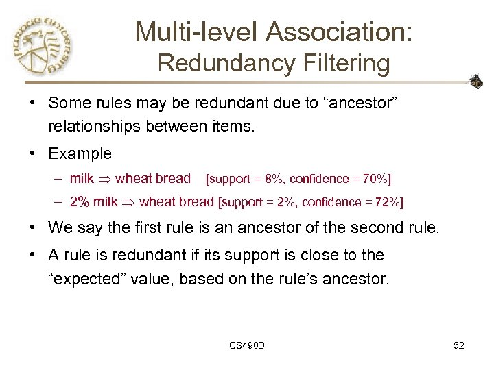 "Multi-level Association: Redundancy Filtering • Some rules may be redundant due to ""ancestor"" relationships"