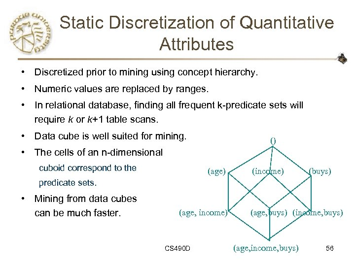 Static Discretization of Quantitative Attributes • Discretized prior to mining using concept hierarchy. •