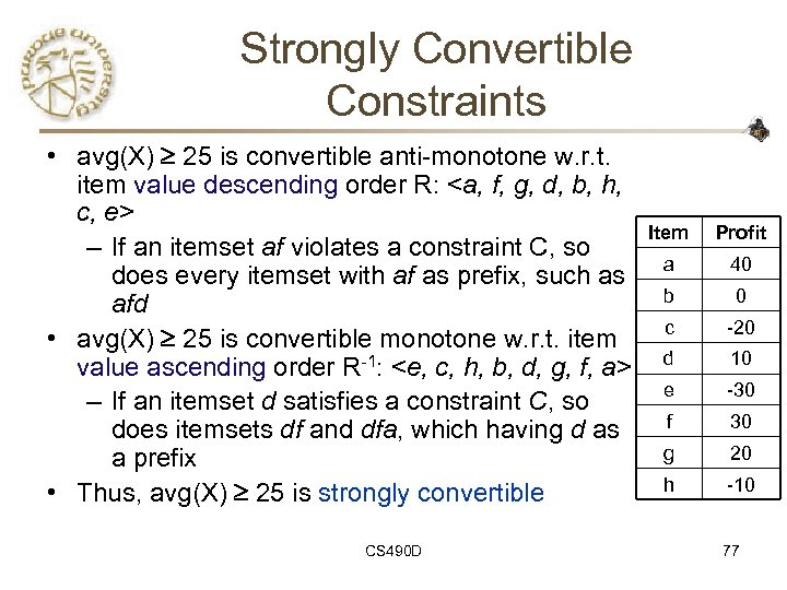 Strongly Convertible Constraints • avg(X) 25 is convertible anti-monotone w. r. t. item value