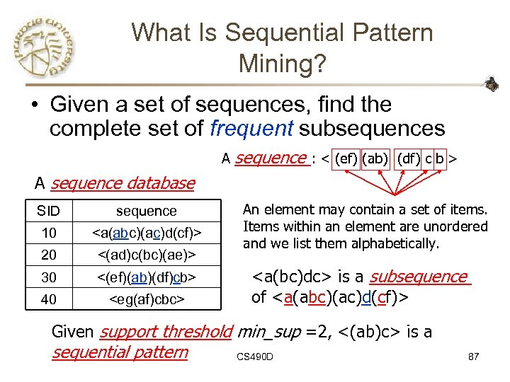 What Is Sequential Pattern Mining? • Given a set of sequences, find the complete