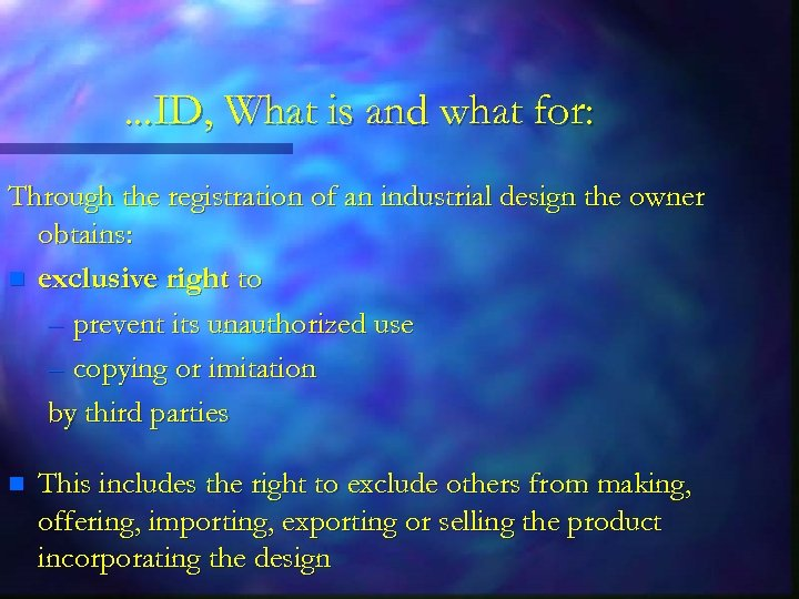 . . . ID, What is and what for: Through the registration of an
