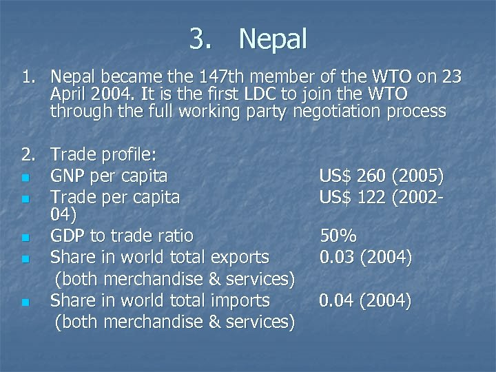 3. Nepal 1. Nepal became the 147 th member of the WTO on 23