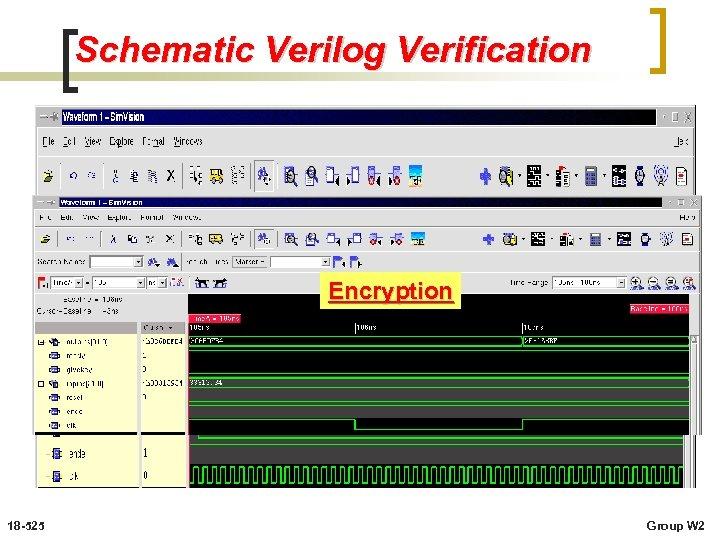 Schematic Verilog Verification Encryption 18 -525 Group W 2
