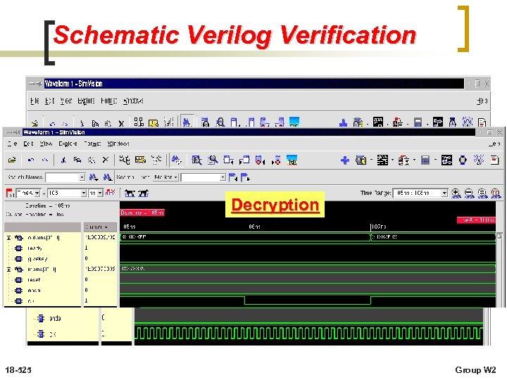 Schematic Verilog Verification Decryption 18 -525 Group W 2