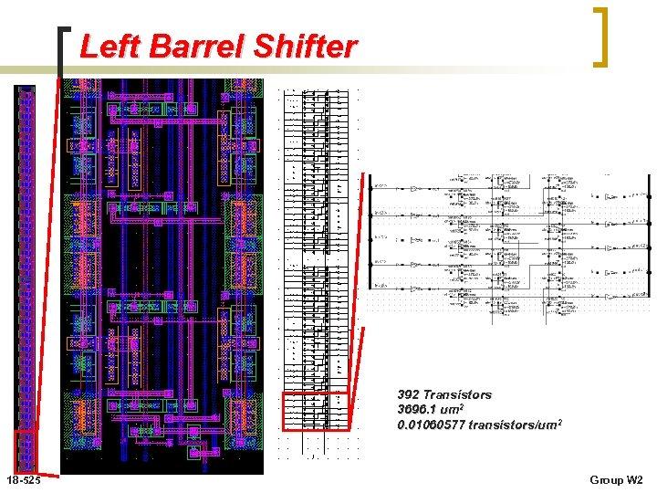 Left Barrel Shifter 392 Transistors 3696. 1 um 2 0. 01060577 transistors/um 2 18