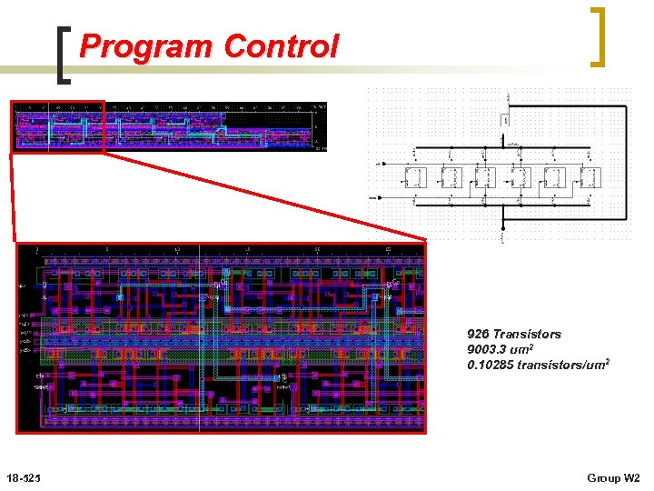 Program Control 926 Transistors 9003. 3 um 2 0. 10285 transistors/um 2 18 -525