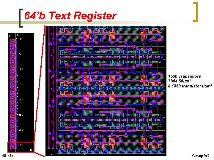 64'b Text Register 1536 Transistors 7864. 56 um 2 0. 1953 transistors/um 2 18