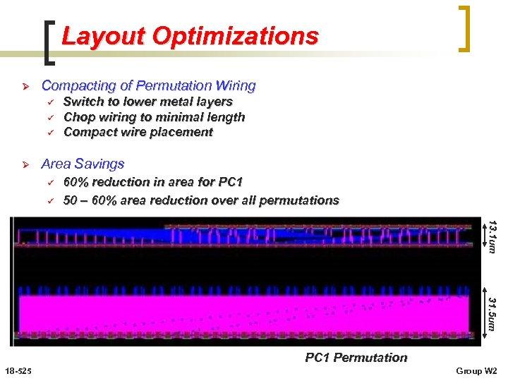 Layout Optimizations Ø Compacting of Permutation Wiring ü ü ü Ø Switch to lower