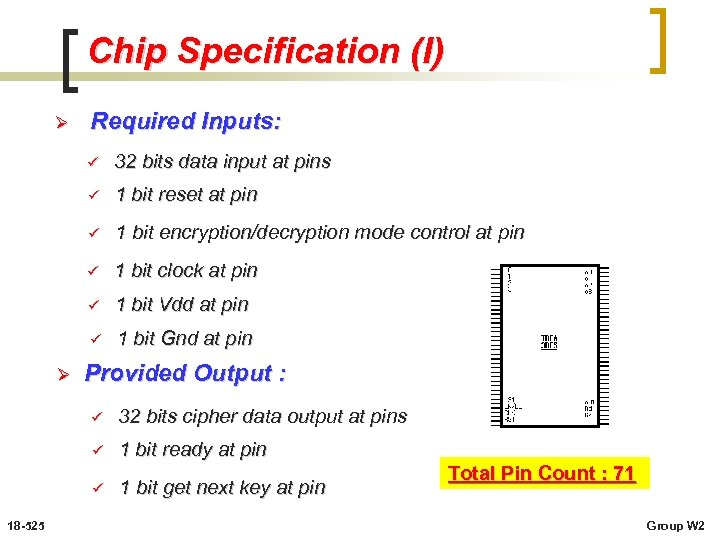 Chip Specification (I) Ø Required Inputs: ü ü 1 bit reset at pin ü