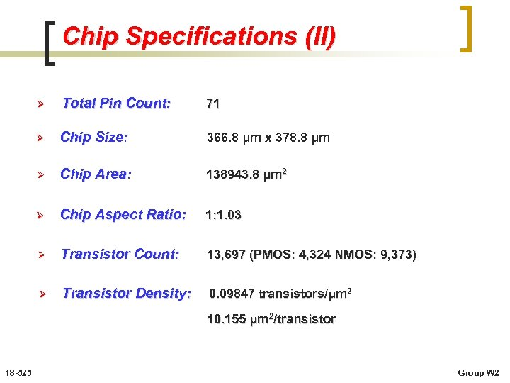 Chip Specifications (II) Ø Total Pin Count: 71 Ø Chip Size: 366. 8 μm