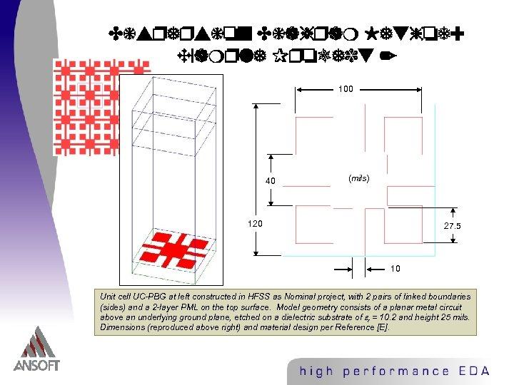 Dispersion Diagram Method: Example Project 2 100 40 (mils) 120 27. 5 10 Unit