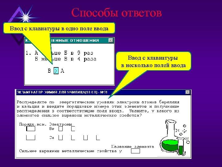 Способы ответов Ввод с клавиатуры в одно поле ввода Ввод с клавиатуры в несколько