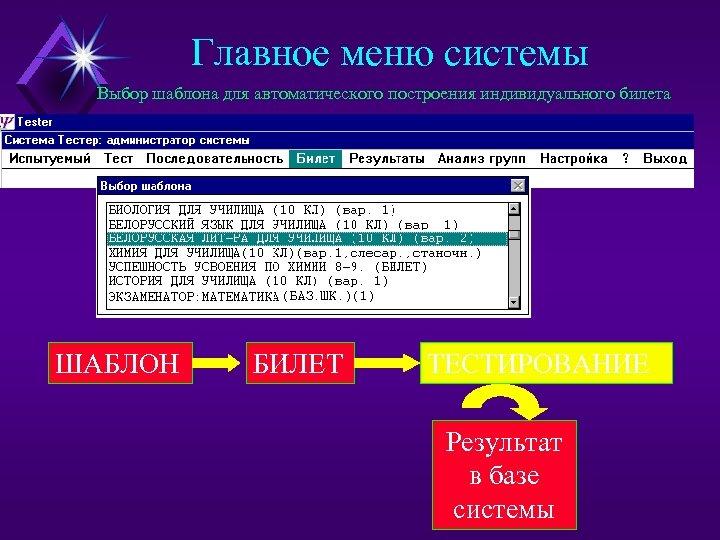 Главное меню системы Выбор шаблона для автоматического построения индивидуального билета ШАБЛОН БИЛЕТ ТЕСТИРОВАНИЕ Результат